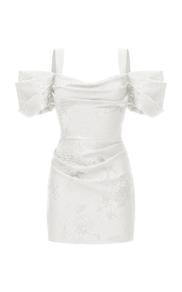 Draped Jacquard Mini Dress With Wide Straps And Draped Sleeves