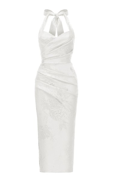 Draped Jacquard Midi Dress With Wide Straps