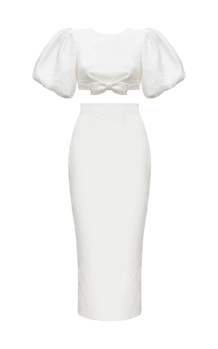 Puff-Sleeve Bow-Embellished Jacquard Top And Jacquard Midi Skirt