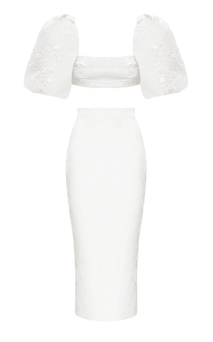 Puff-Sleeve Draped Jacquard Top And Jacquard Midi Skirt