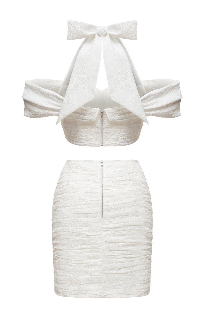 Draped Jacquard Top And Draped Jacquard Mini Skirt