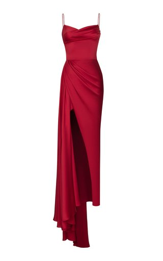 Draped Thigh Slit Satin Gown