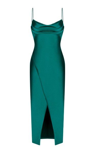 Draped Wrap-Effect Satin Midi Dress