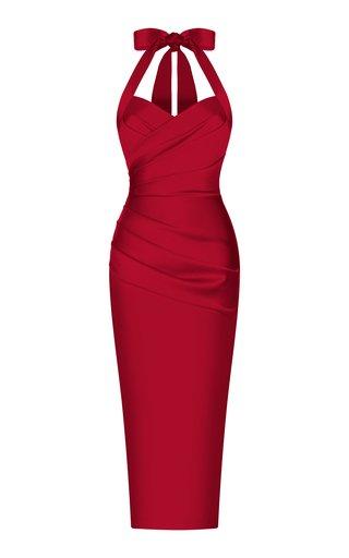 Draped Satin Midi Dress