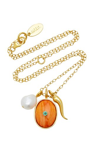 Tangerine Oasis Gold-Vermeil Pearl and Emerald Chain Necklace