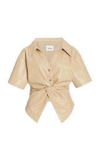 Thora Belted Faux-Leather Top
