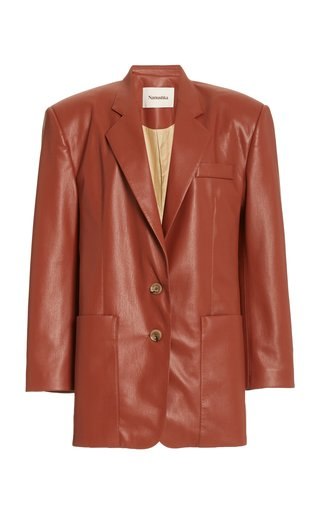 Evan Collared Faux-Leather Blazer