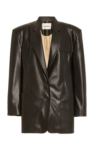 Evan Structured Faux-Leather Blazer