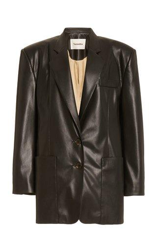 Evan Structured Faux-Leather Blazer