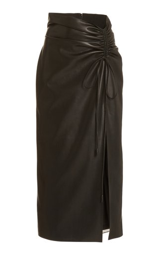 Malorie Ruched Faux-Leather Skirt
