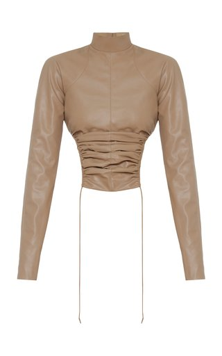 SpecialOrder-Ruched Faux Leather Top-ER