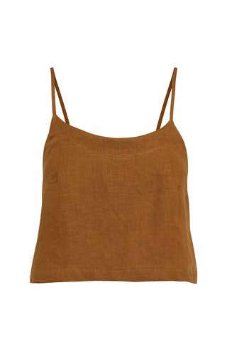 Flared Linen-Twill Camisole Top