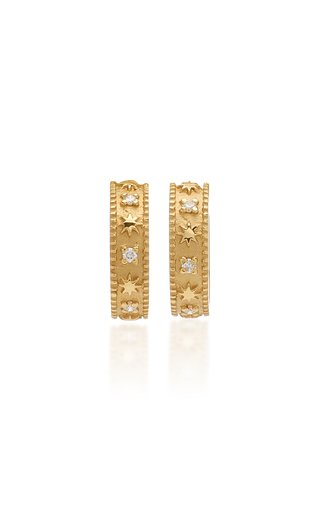 Star 18K Yellow Gold Diamond Hoop Earrings