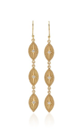 Triple Marquise 18K Yellow Gold Diamond Earrings