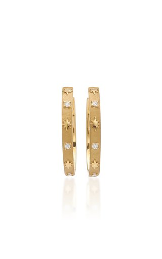 Star and Stone 18K Yellow Gold Diamond Hoop Earrings