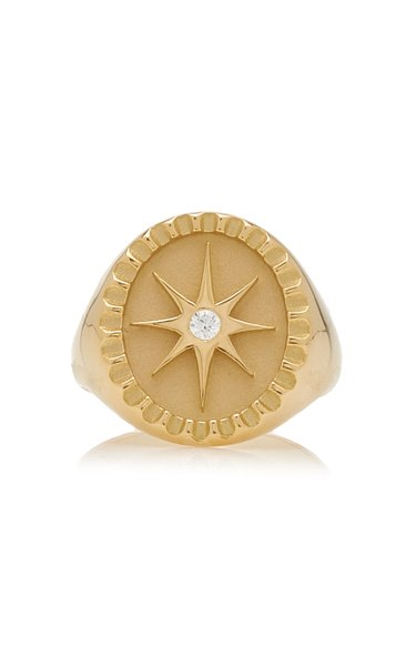 Star 18K Yellow Gold Diamond Signet Ring