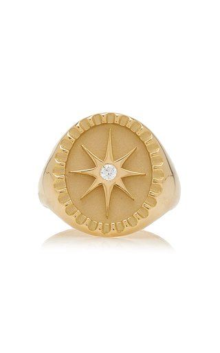 Star 18K Yellow Gold Diamond Signet Ring