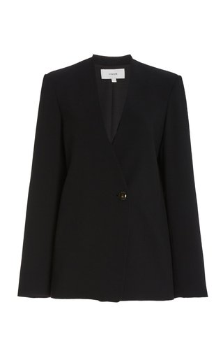 Wool-Crepe Collarless Blazer