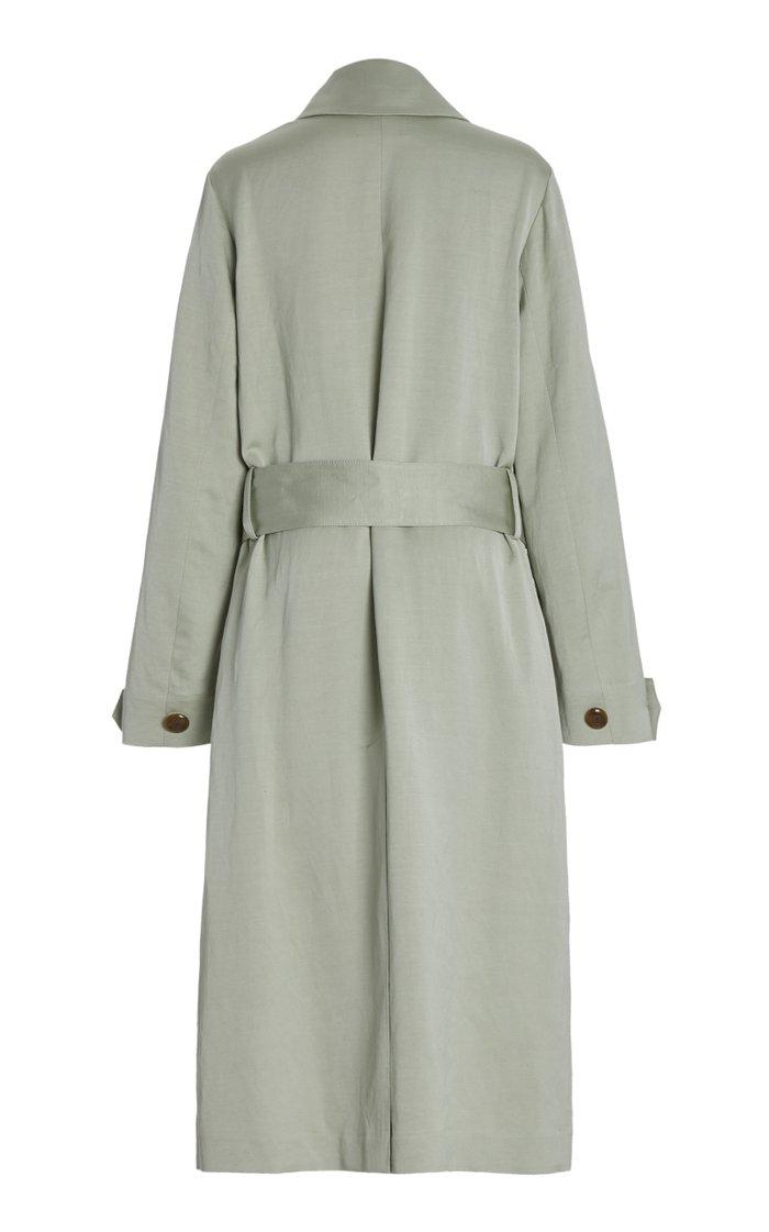 Belted Linen-Blend Long Coat
