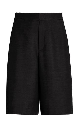 Linen-Blend Wide-Leg Shorts
