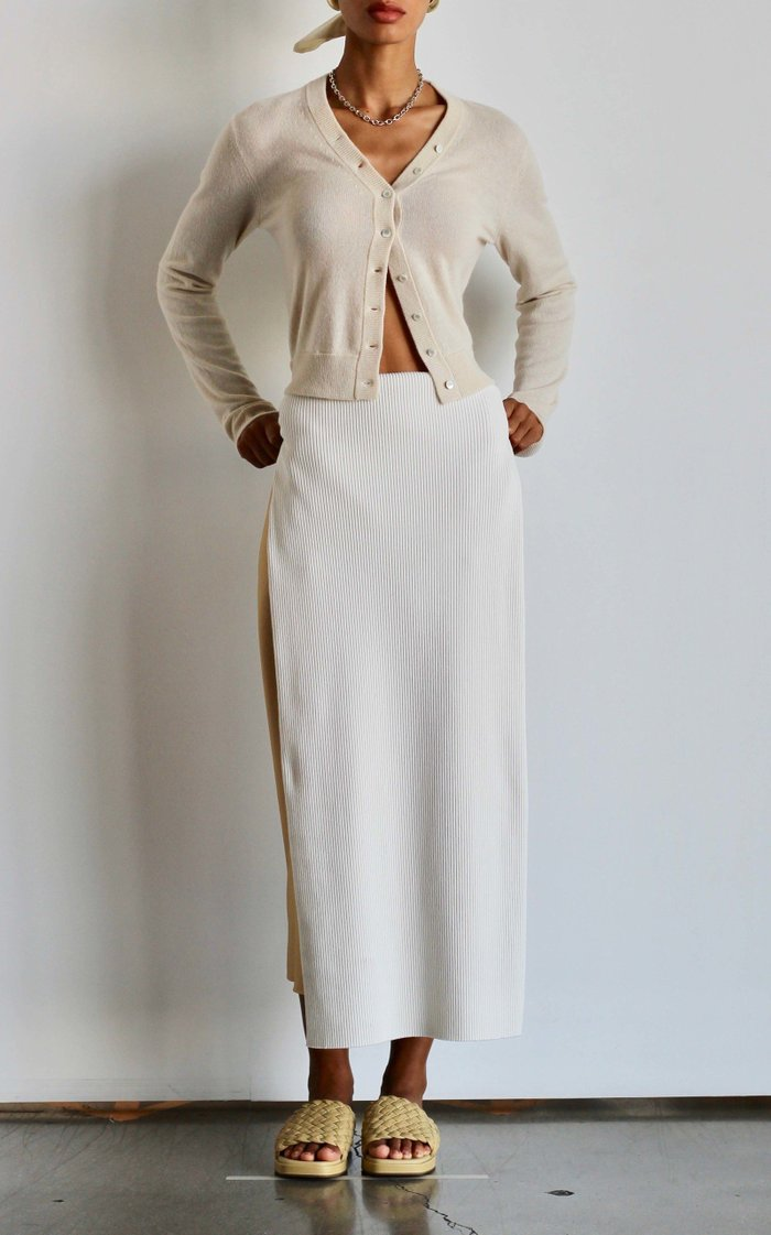 Ribbed Cotton Pencil Skirt