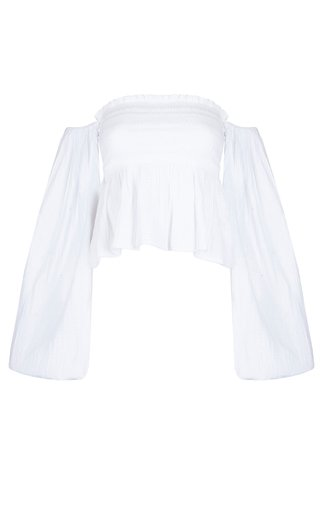 Agatha Smocked Cotton Off-The-Shoulder Top