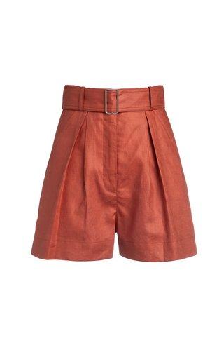 Pleated Linen Shorts