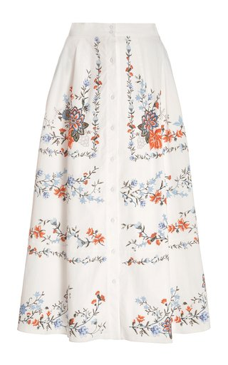 Mervyn Floral Cotton Midi Skirt