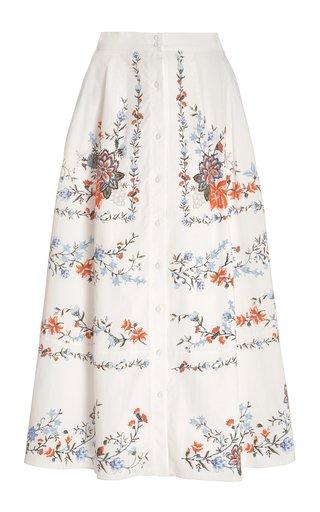 Mervyn Floral Cotton Midi Skirt