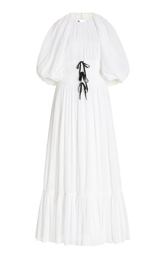 Marlyn Bow-Detailed Crinkled Crepe Maxi Dress