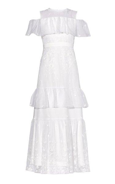 Almeric Ruffle Neckline Maxi Gown