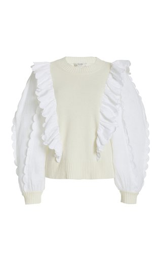Shannon Ruffled Poplin and Knit Sweater