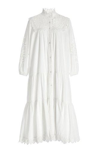 Hazel Broderie-Trim Cotton Midi Shirt Dress