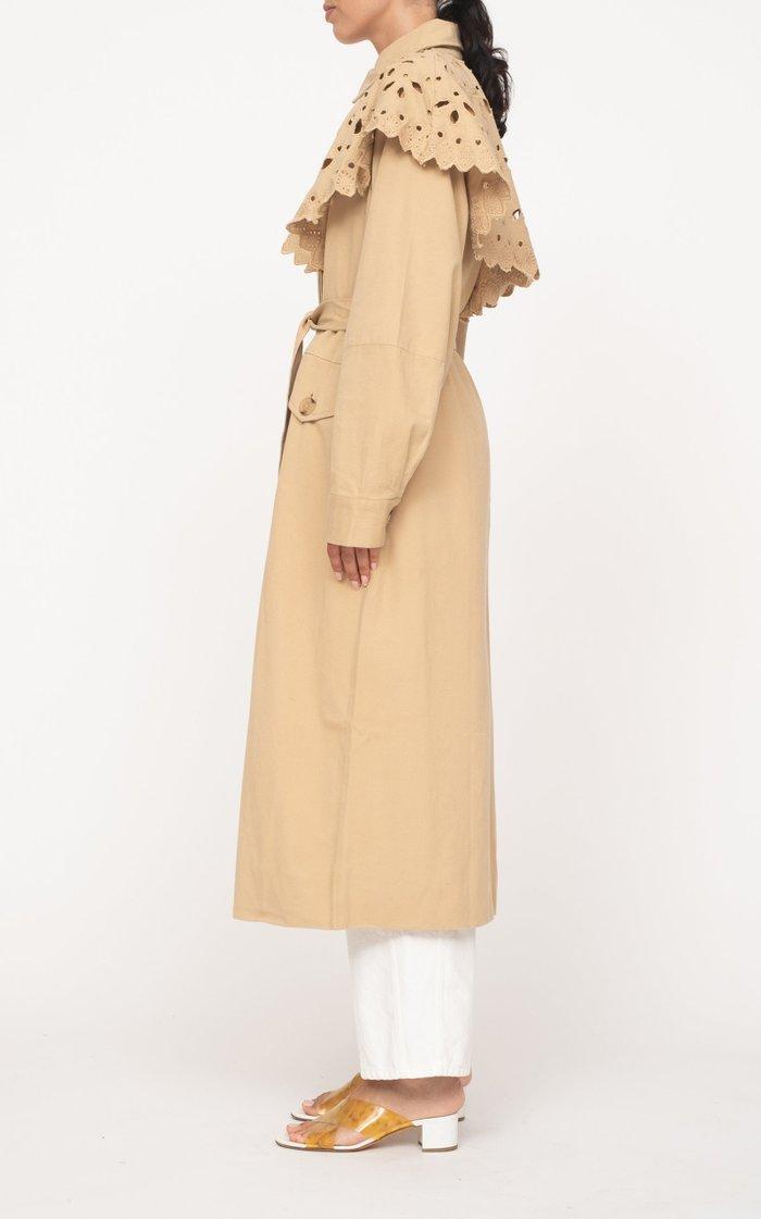 Hazel Broderie-Trimmed Gabardine Trench Coat