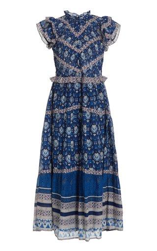 Brigitte Smocked Printed Cotton Midi Dress