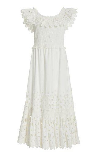 Hazel Smocked Broderie Anglais Cotton Midi Dress