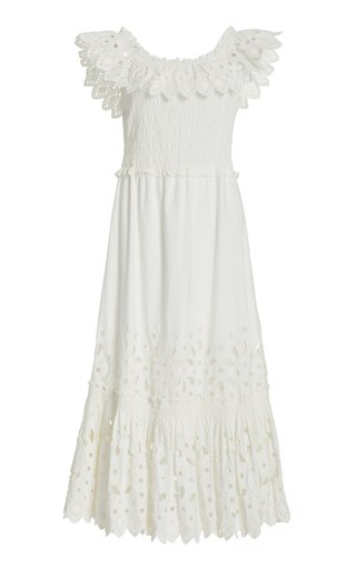 Hazel Smocked Broderie Anglais Cotton Midi Dress
