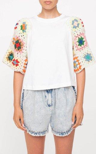 Gabriela Crochet-Sleeve Cotton T-Shirt