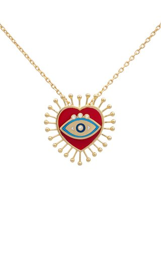 18K Yellow Gold Eye Heart U Pendant
