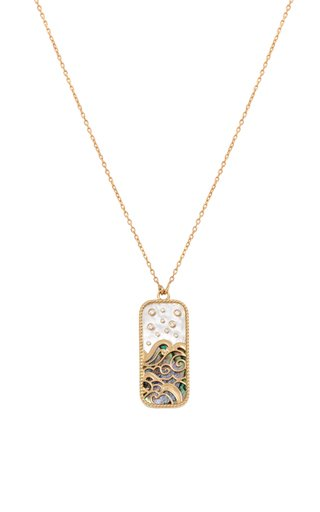 18K Yellow Gold Elements of Love Water Pendant
