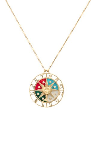 18K Yellow Gold Zodiac Wheel Pendant