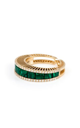 18K Yellow Gold Sandwiched Malachite Baguette Ring