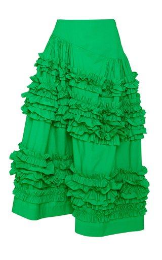 Otis Frilled Cotton Midi Skirt