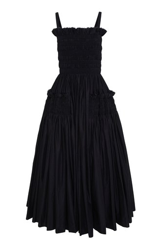 Larry Smocked Cotton Voile Midi Dress