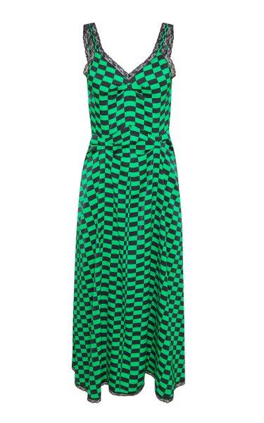 Romy Lace-Trimmed Checked Midi Slip Dress