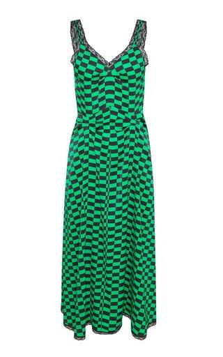 Romy Checked Crepe Midi Slip Dress