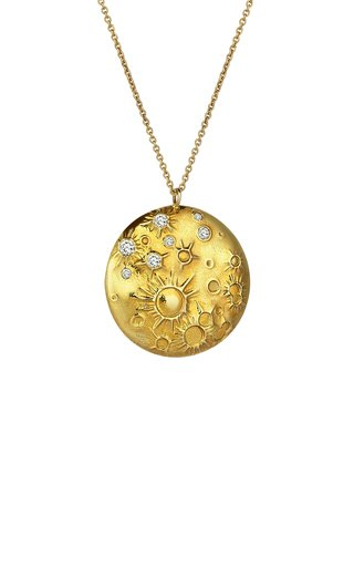 Celestial Moon 18K Yellow Gold Diamond Necklace