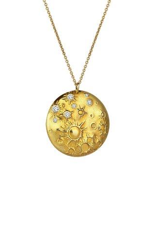 Celestial Moon 18K Yellow Gold Diamond Necklace