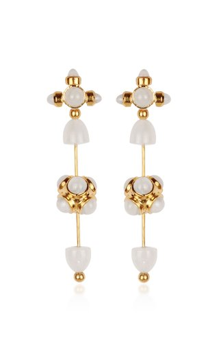 Celestial Galaxy Toteme 18K Yellow Gold Moonstone Earrings