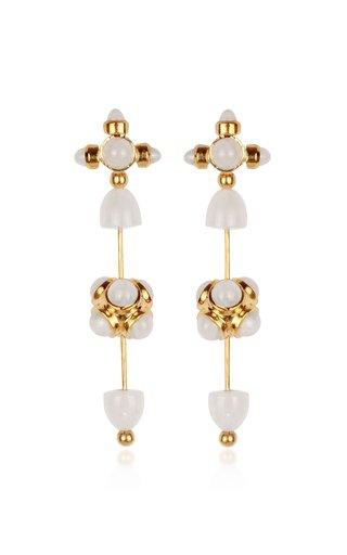 Celestial Galaxy Toteme 18K Yellow Gold Moonstone Earrings